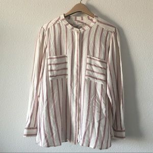 Loft Size XL Blouse Long Sleeve stripes Rayón